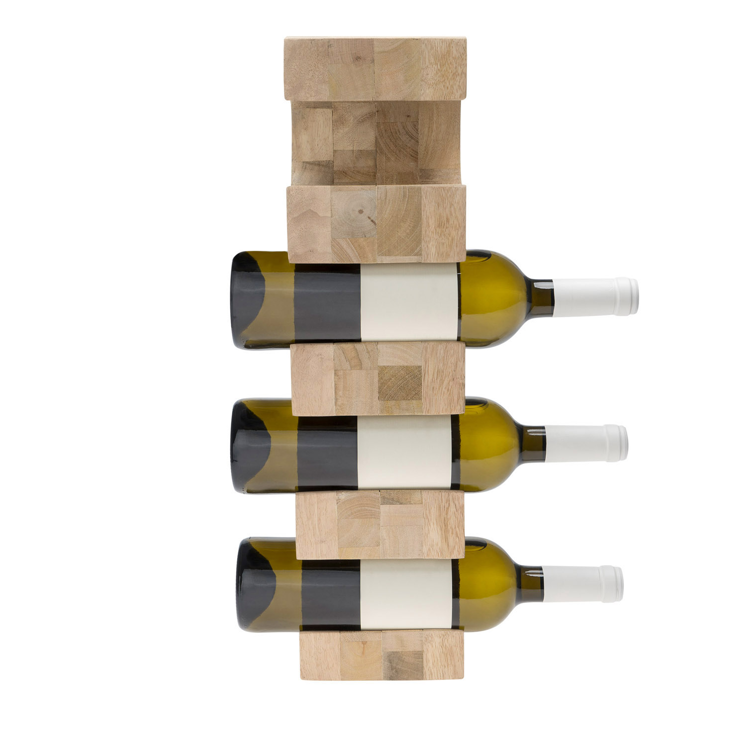 otellero Vino 4 Botellas en Madera de Mango Color Natural - Estante Vinoteca para Bodega Despensa Mu