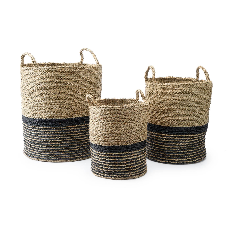 Set 3 cestos Manila paja, color naturaly negro