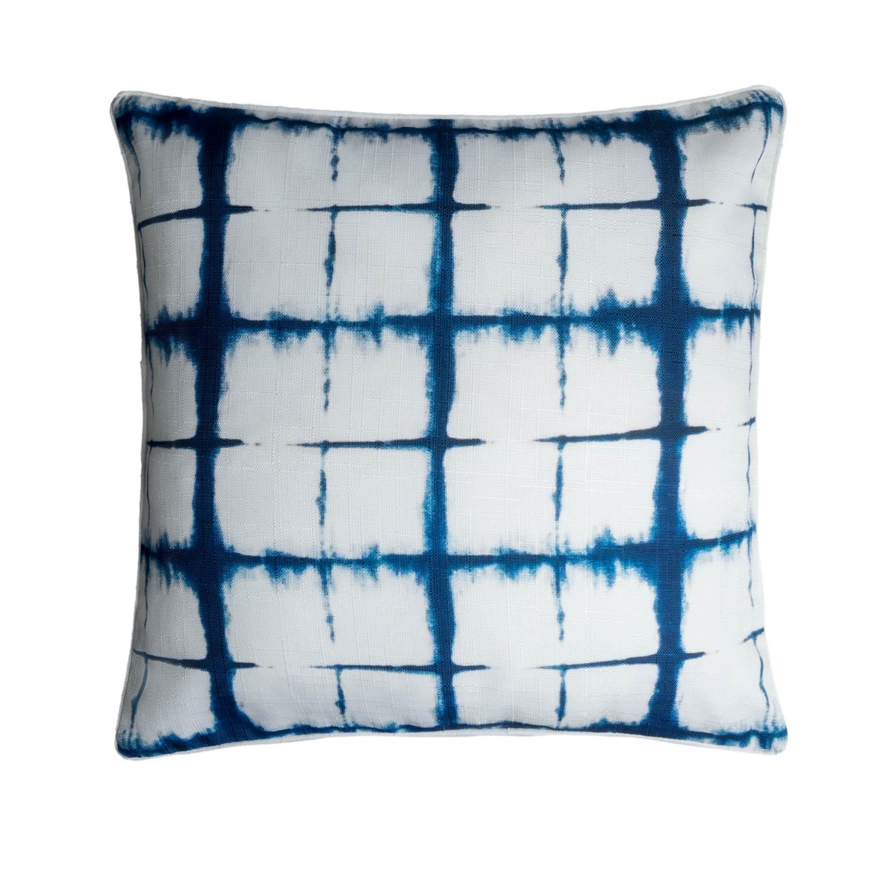 Funda cojín Tie Dye 100% poliéster, color blanco y azul