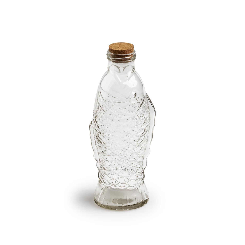 Botella Fish vidrio y corcho, color transparente