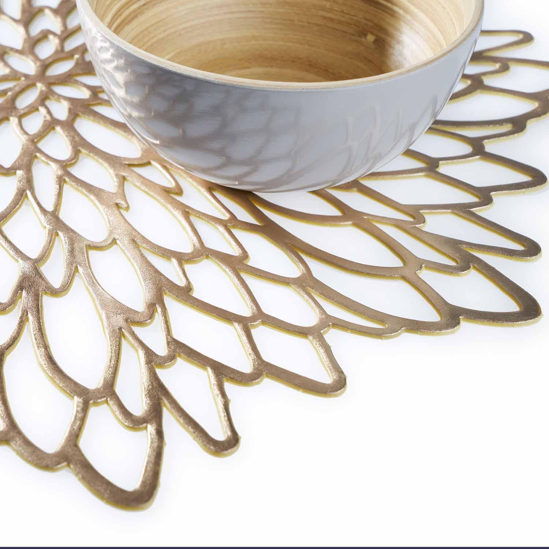 Set 2 individuales de mesa Gold, PVC, color dorado, 38x38 cm