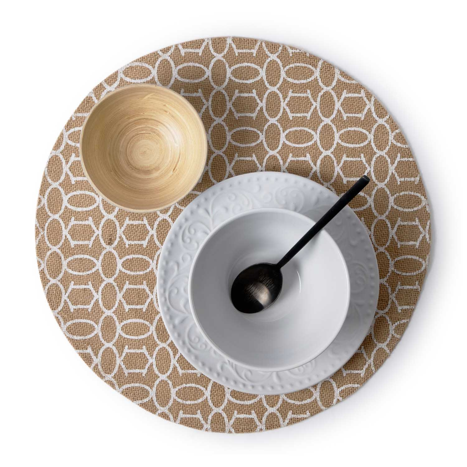 2 Placemats Set Summer, jute, brown and white color, hola38x38 cm