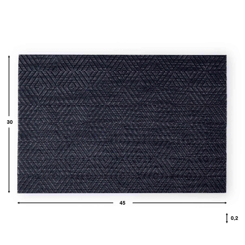 2 Placemats Set Nuit, PVC, gray and blue color, hola30x45 cm