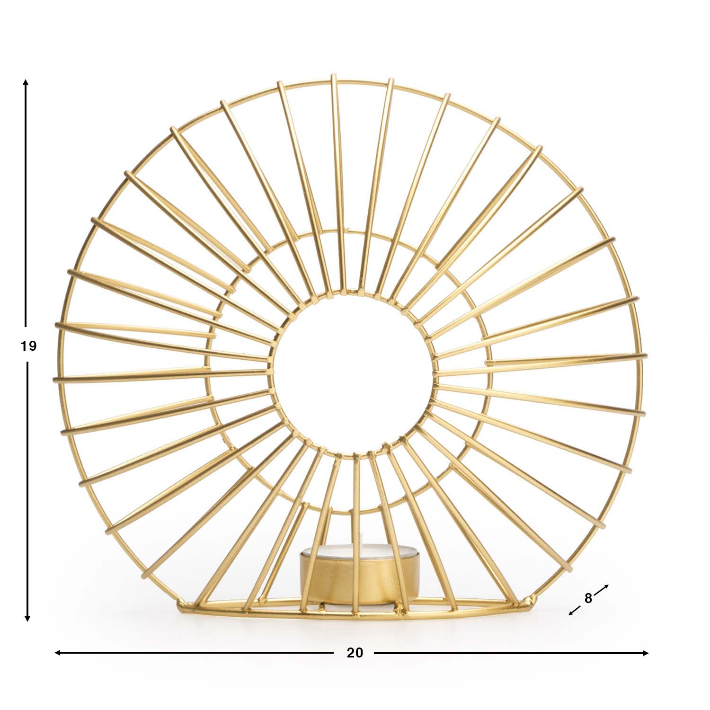 Portavelas Ra metal, color dorado