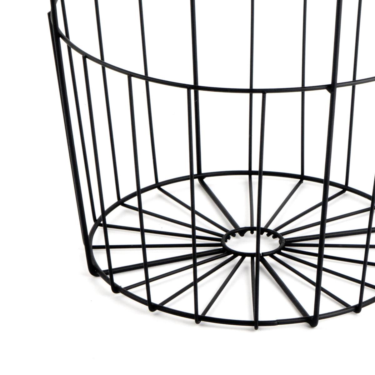 et 2 Mesa auxiliar Metal Juego de Mesas Auxiliares Color Negro Redonda - Diseño Estilo Nórdico Vinta
