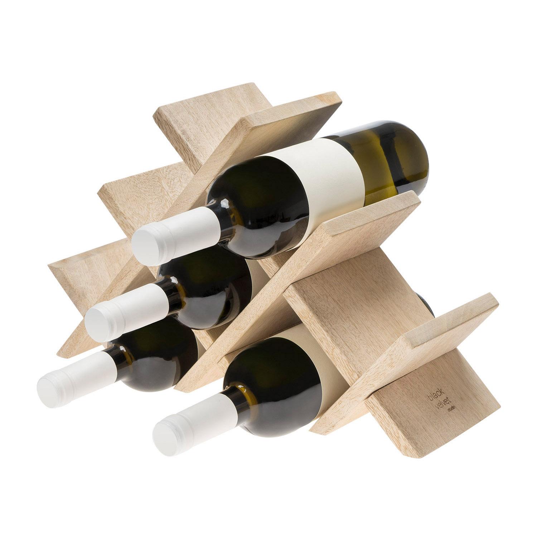 otellero Vino 8 Botellas en Madera de Mango Color Natural - Estante Vinoteca para Bodega Despensa Mu