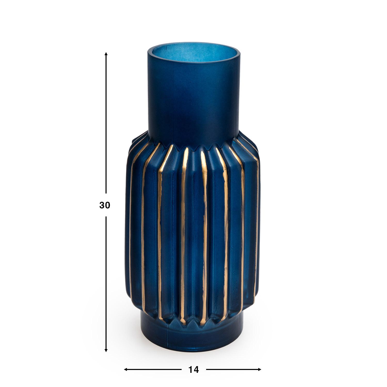 arrón Vidrio Decorativo Color Azul Dorado Cristal – Florero Moderno Vintage para Hogar Oficina Sala