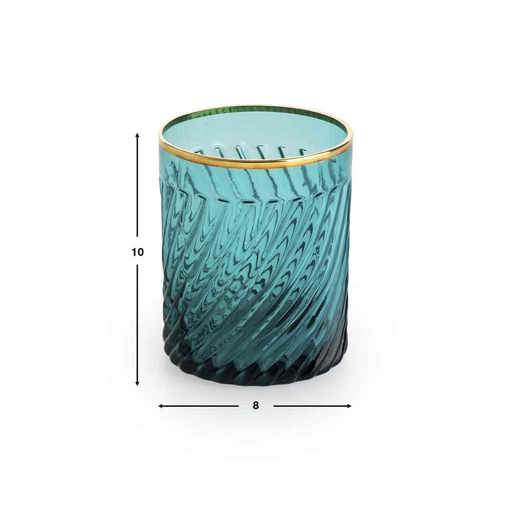 Set 4 vasos bajos Estambul vidrio, color turquesa y dorado
