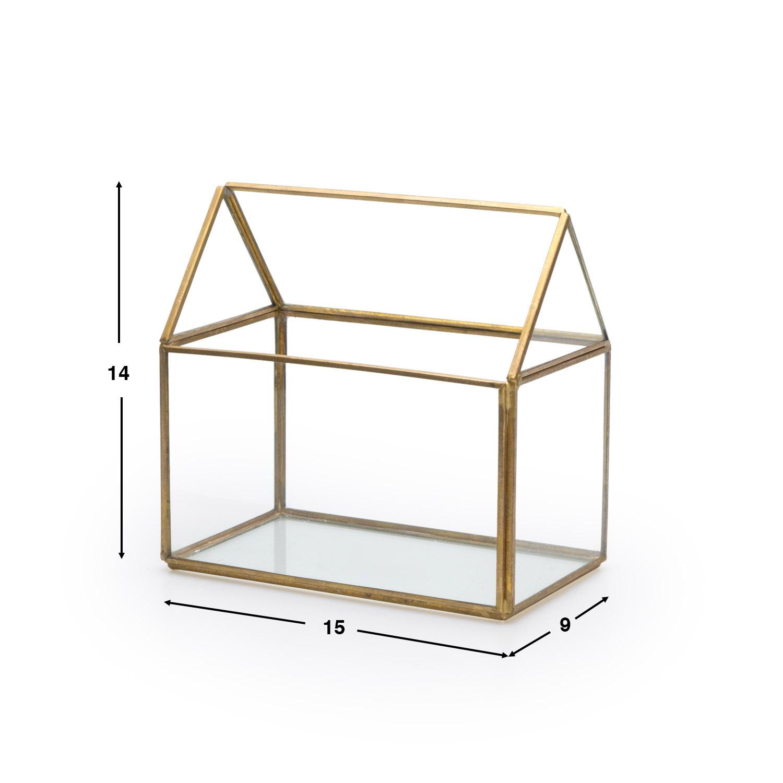 aja Deco Joyero Terrario Retro Metal Dorado Laton Color Vidrio Cristal Transparente - Estilo Nórdico