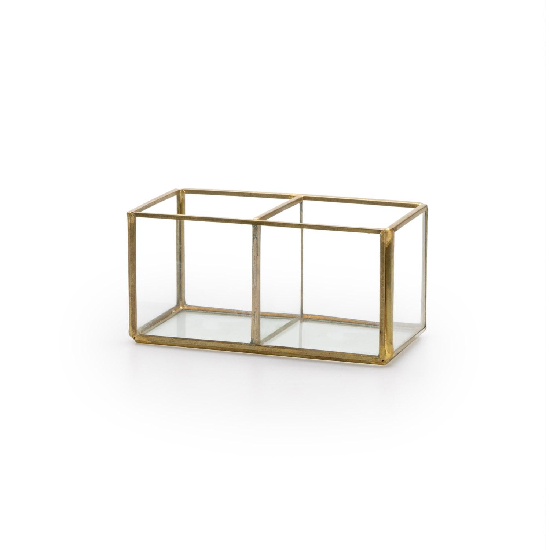 aja Deco Joyero Terrario Retro Metal Dorado Laton Color Vidrio Cristal Transparente 2 Compartimentos
