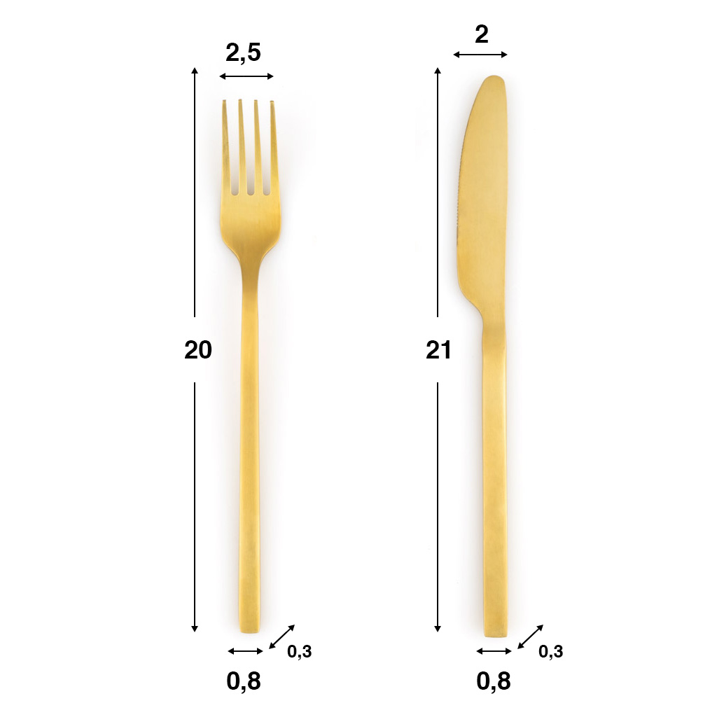 uego Cubiertos 4 en Acero Inoxidable Color Dorado Mate – Pack Set Cubertería Cuchara Tenedor Cuchill