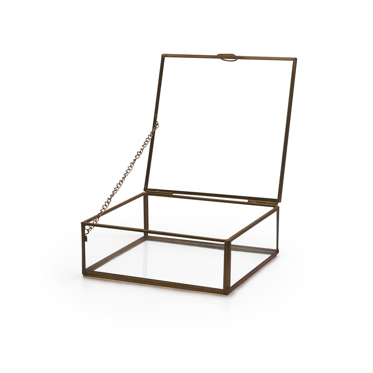 aja Deco Joyero Terrario Retro Metal Color Negro Laton Vidrio Cristal Transparente - Estilo Nórdico