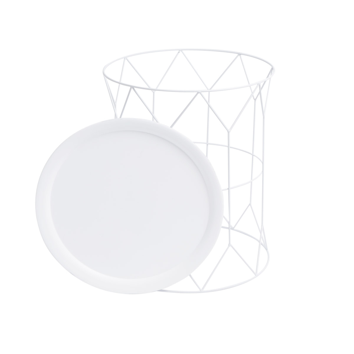 uxiliary Side table Round Metal Color White - Nordic Design Vintage Style - Bedroom Living Model Mr
