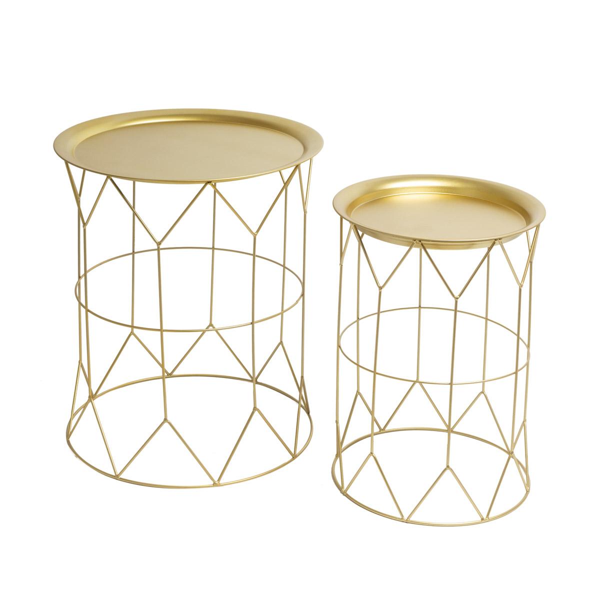 2 Tables set, Mr Smith metal, color golden