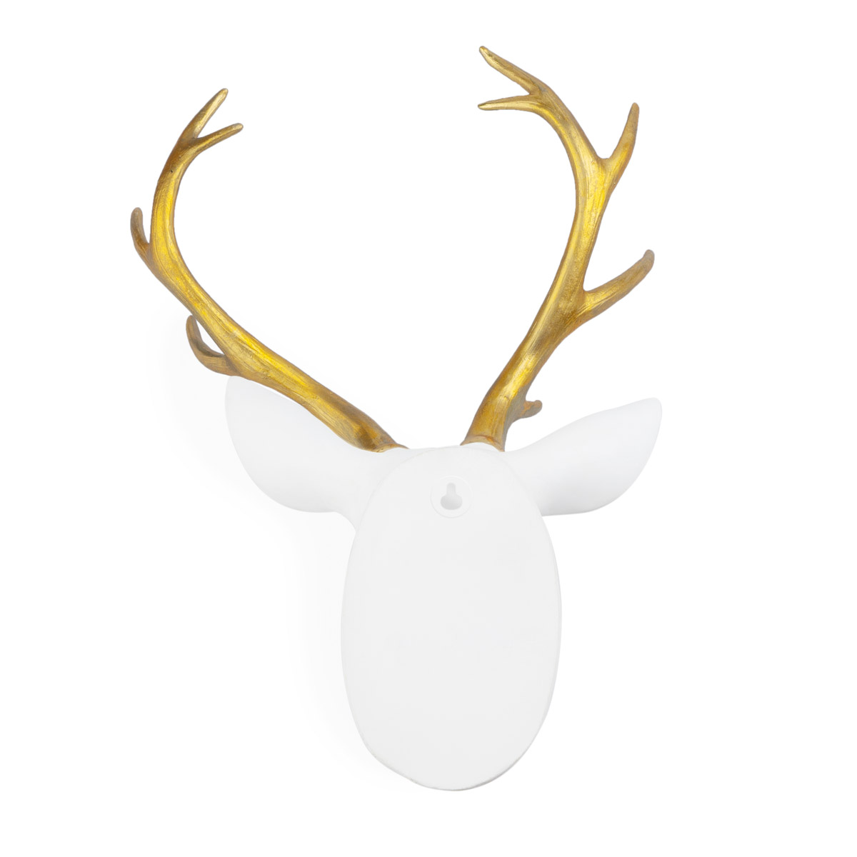 Cabeza Deer, poliresina, color blanco y dorado, figura decorativa,45x30x18 cm