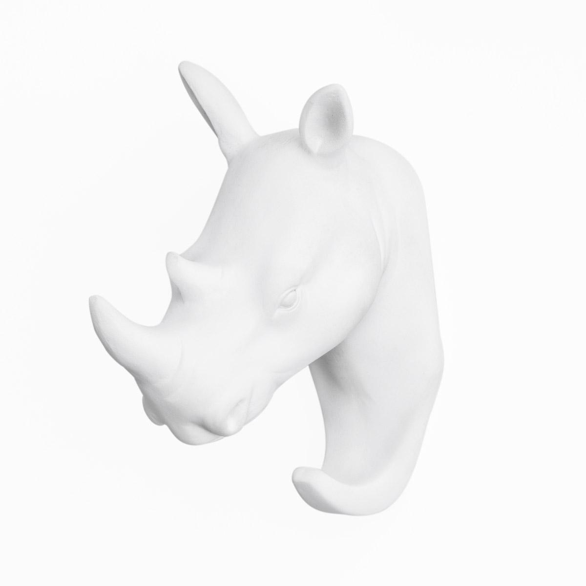 Colgador Rhino, poliresina, color blanco, figura decorativa,10x5x11 cm