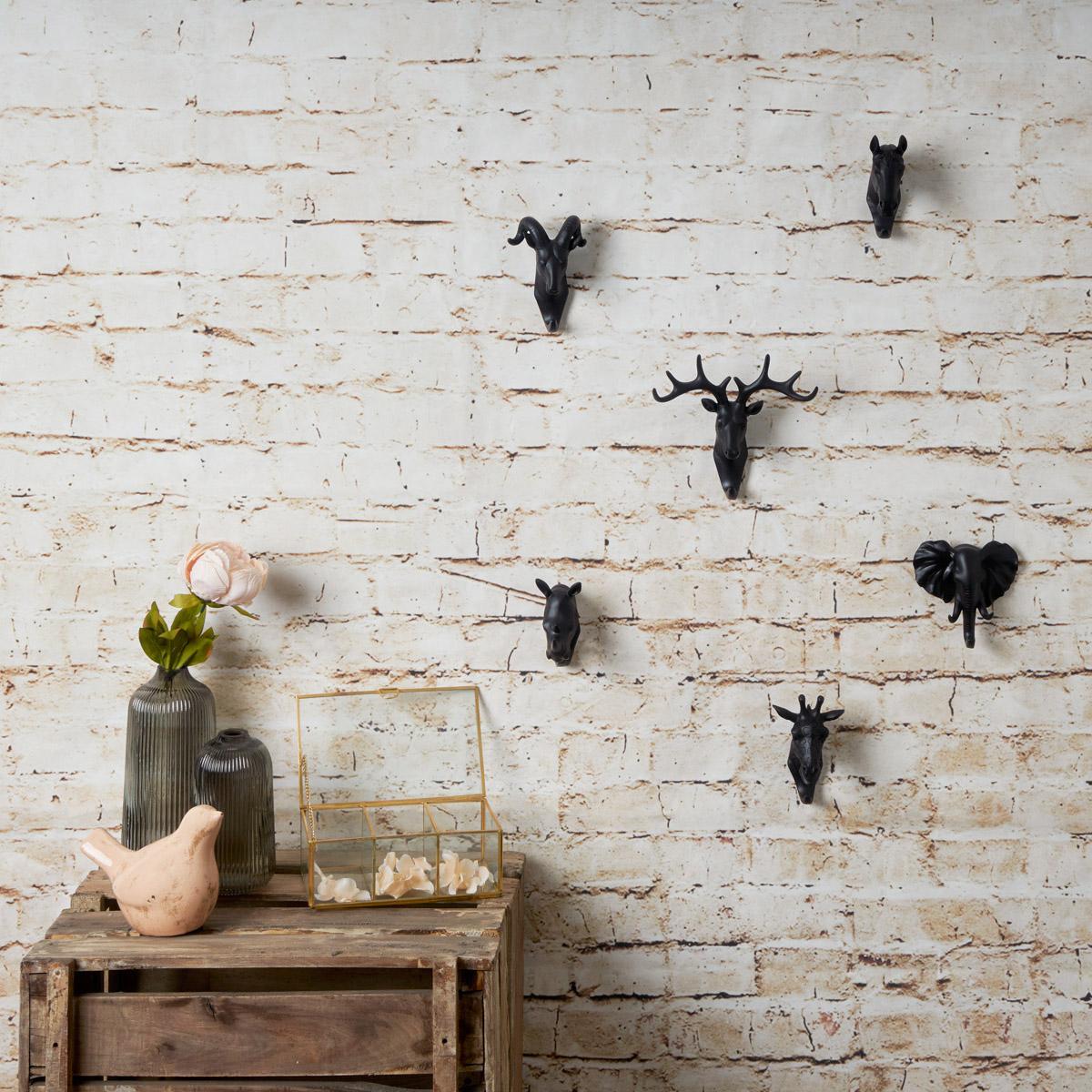 Wall Hook Hanger Polyresin Animal Color Black Rhino RHINO Decorative Perchero 10 * 5 * 11 cm