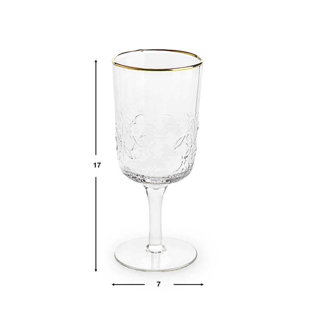 Set 4 copas Old is chic vidrio, color transparente y dorado