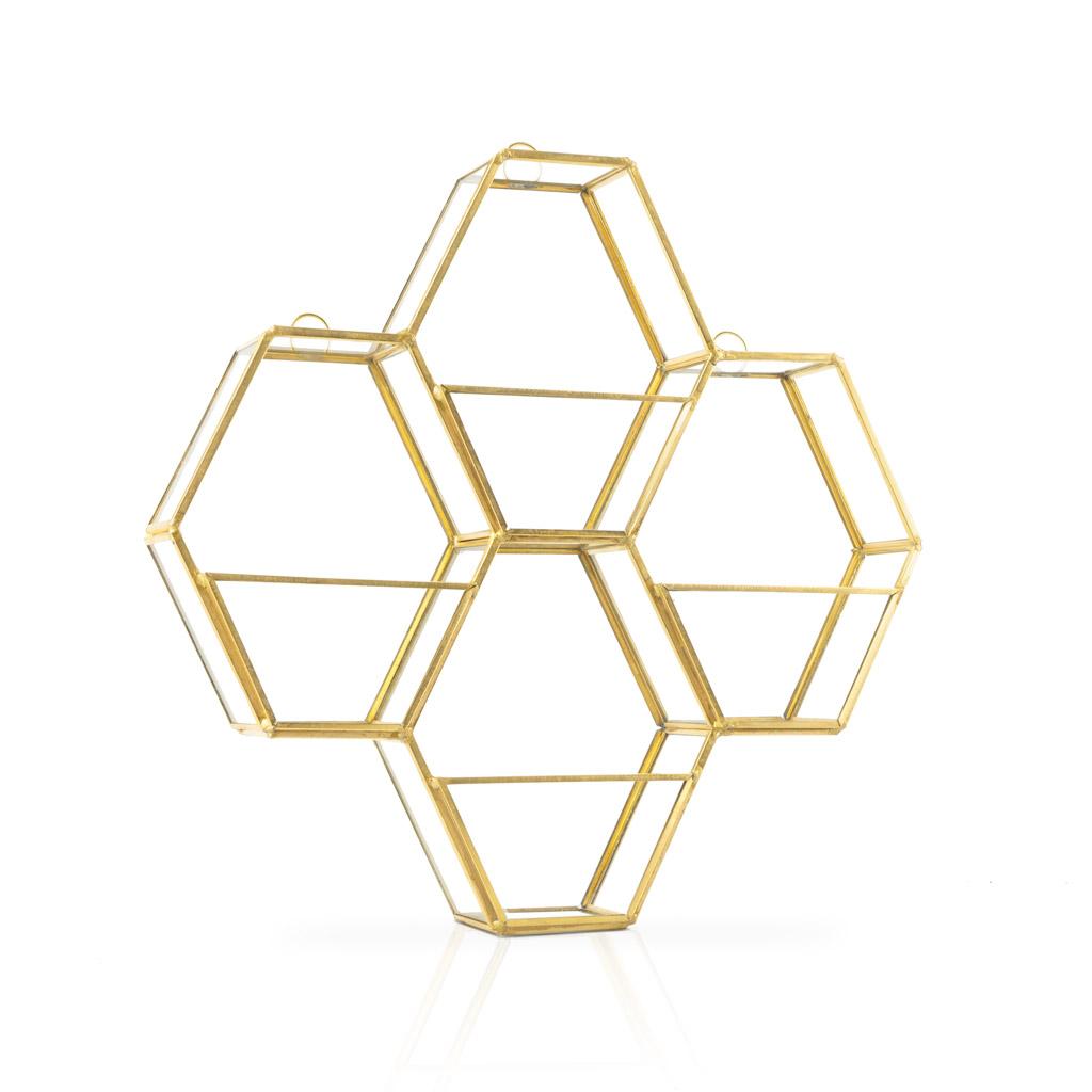 stanteria Pared Metal Vintage Dorada Hexagonal – Estante de Decoracion Flotante de Diseño Retro para