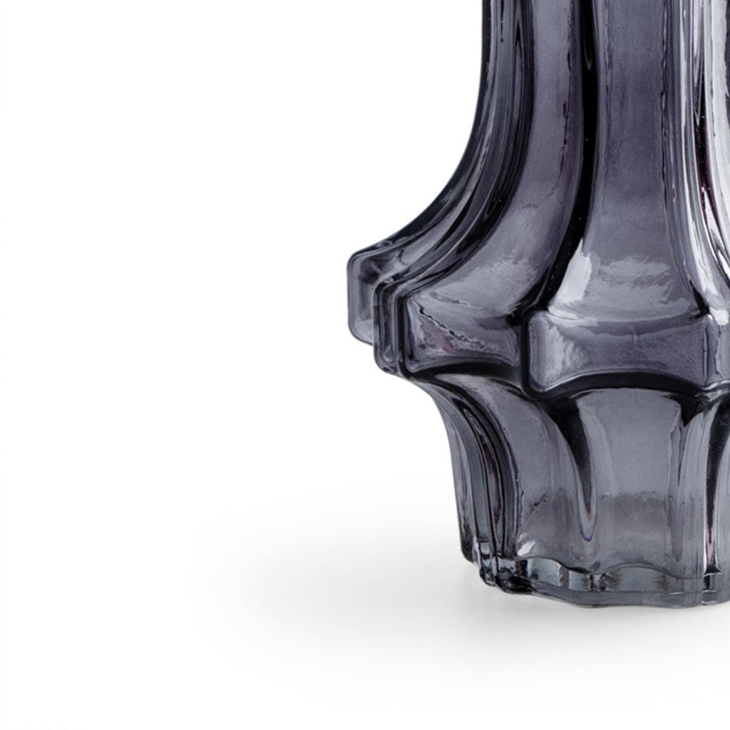 arrón Cristal Decorativo Color Gris – Florero Moderno Vintage para Hogar Oficina Sala Mesa con Textu