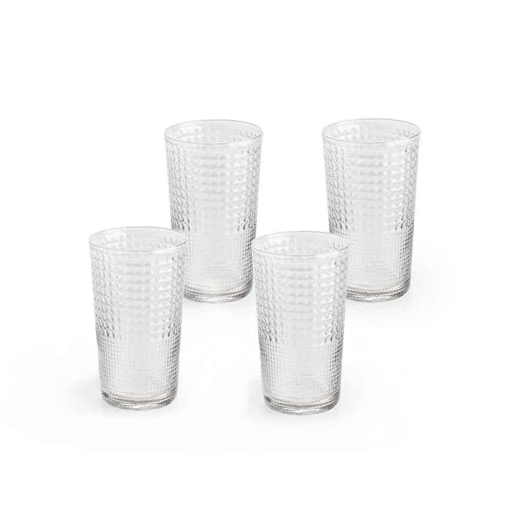 Set 4 vasos altos Niza vidrio, color trasnparente