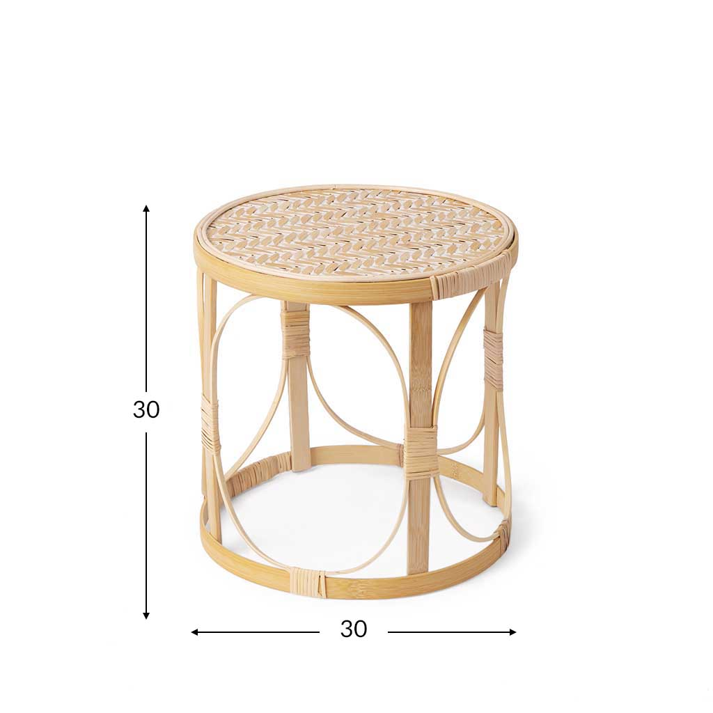 eptember 2 Ratan Wooden side table Table Set Auxiliary Natural Color / White Round - Nordic Design V