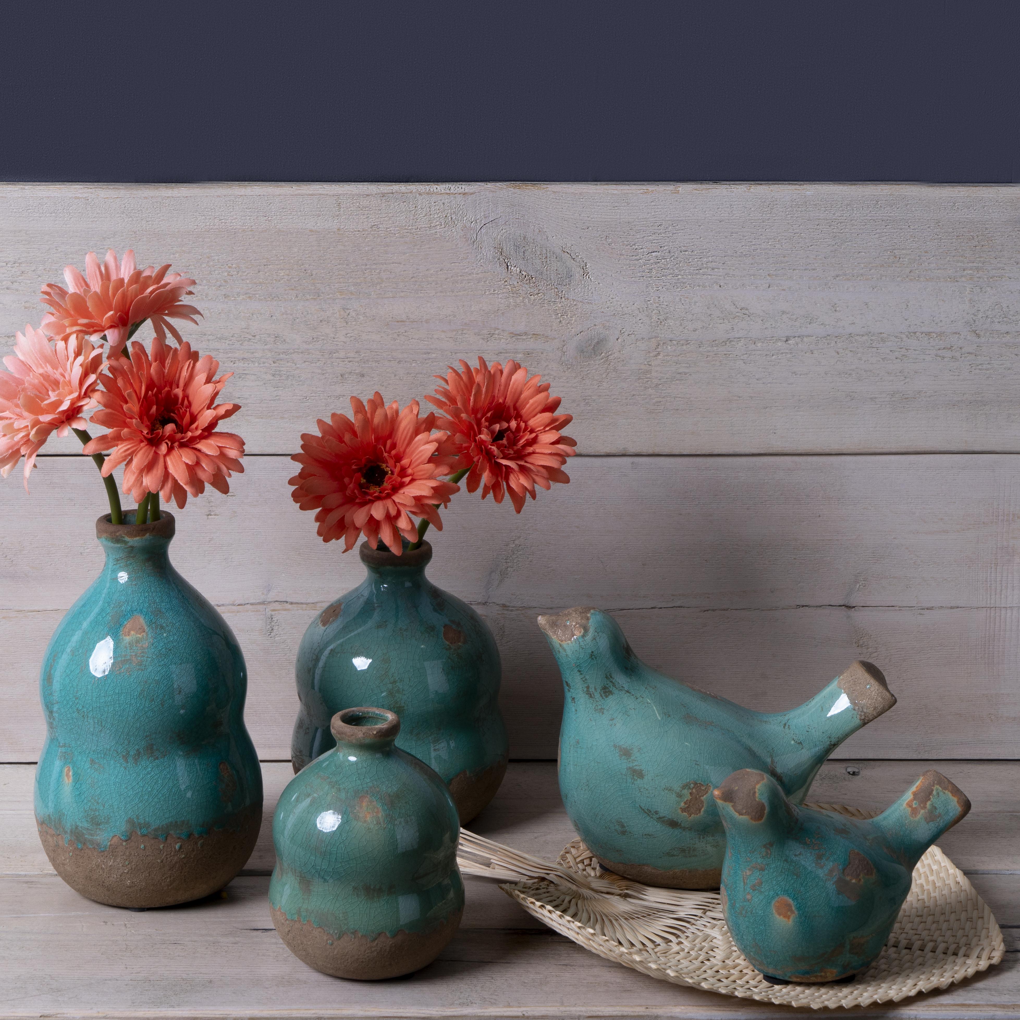 igura Decorativa Pájaro Cerámica Decorativo Color Turquesa – Moderno Vintage para Hogar Oficina Sala