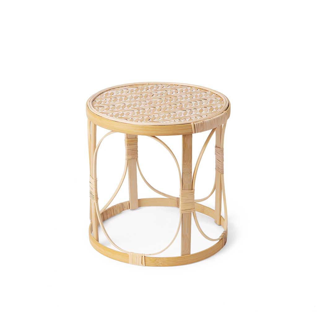 atan Wooden side table Auxiliary Natural Color / Round White - Nordic Design Vintage Style - Bedroom
