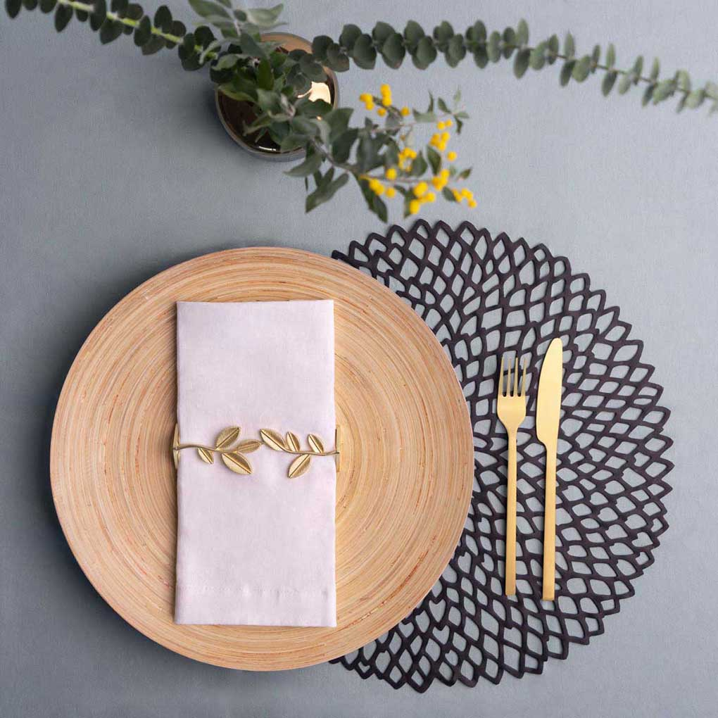 Set 2 servilleteros de mesa Unic, Zinc, color dorado, 3,8x4x13,2 cm