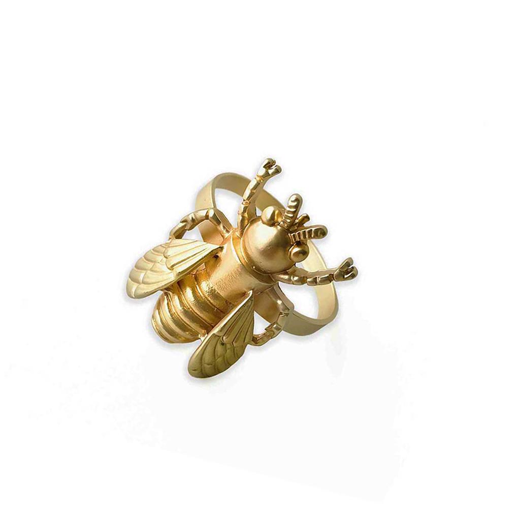 Set 2 servilleteros de mesa bug, Zinc, color dorado, 4,3x4,5x5,5 cm