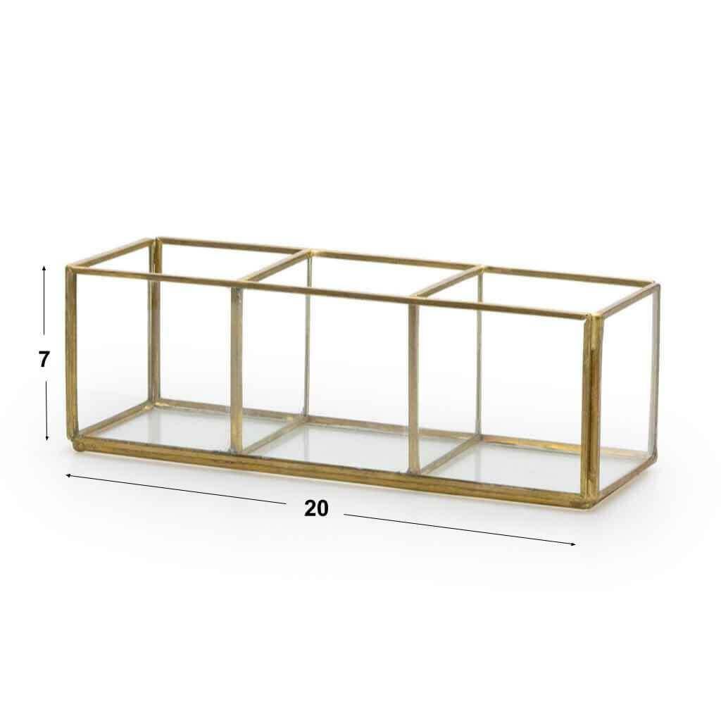 aja Deco Joyero Terrario Retro Metal Dorado Laton Color Vidrio Cristal Transparente 3 Compartimentos