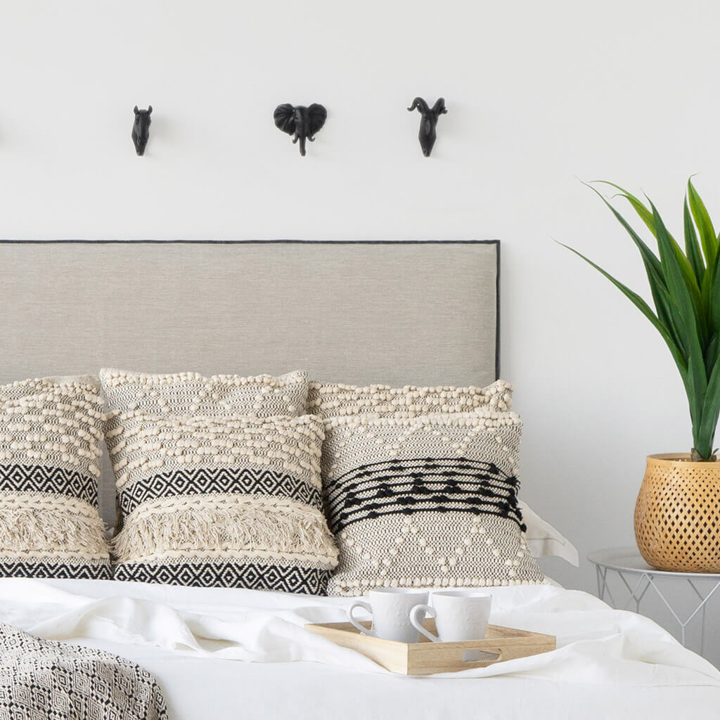 abecero Cama Madera Tapizado Tela Acolchado Color Beige - Cabezal Dormitorio Matrimonio / Individual