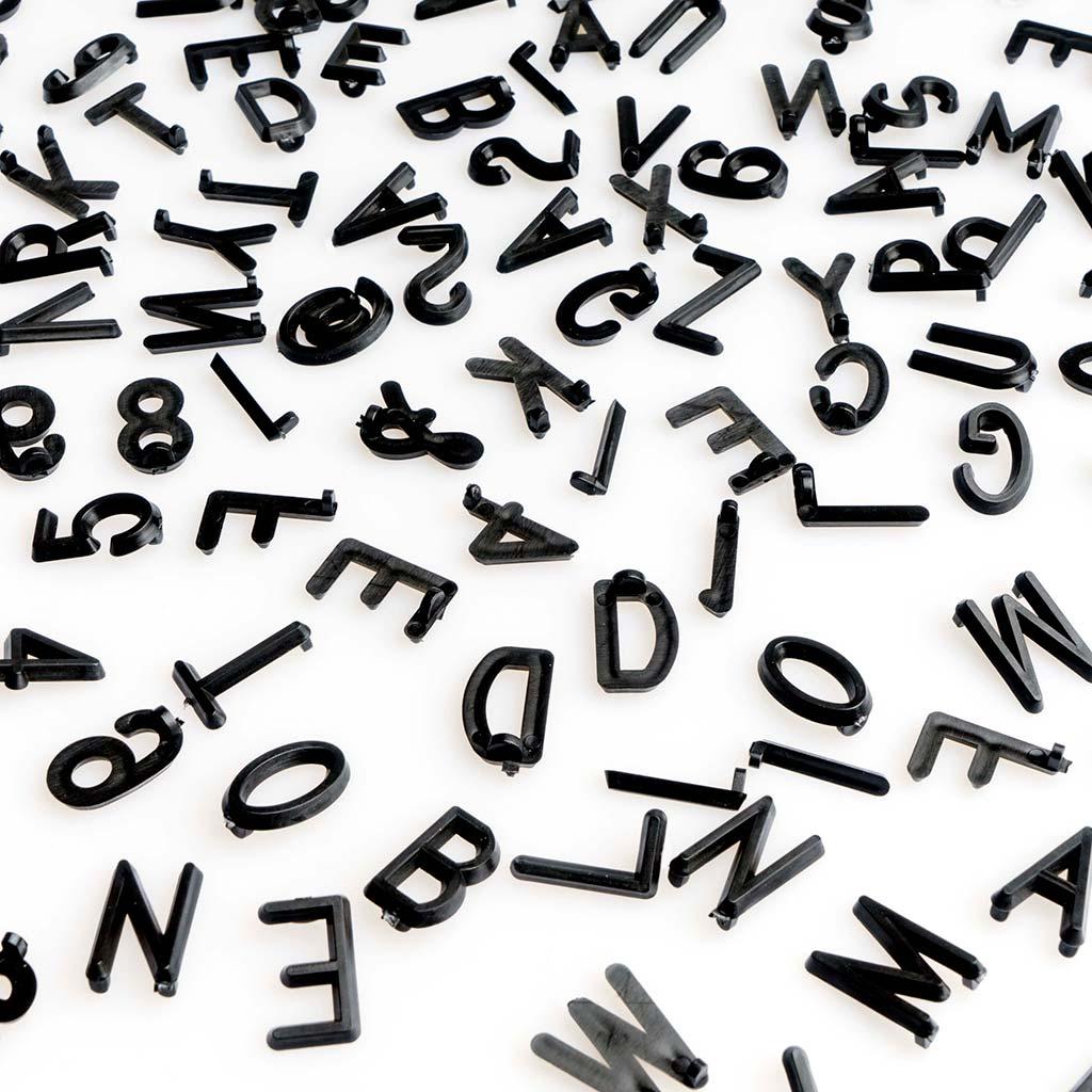 PACK Letras Tablero Fieltro Intercambiables Letters + Numeros - Alfabeto Simbolos Retro Color Negro