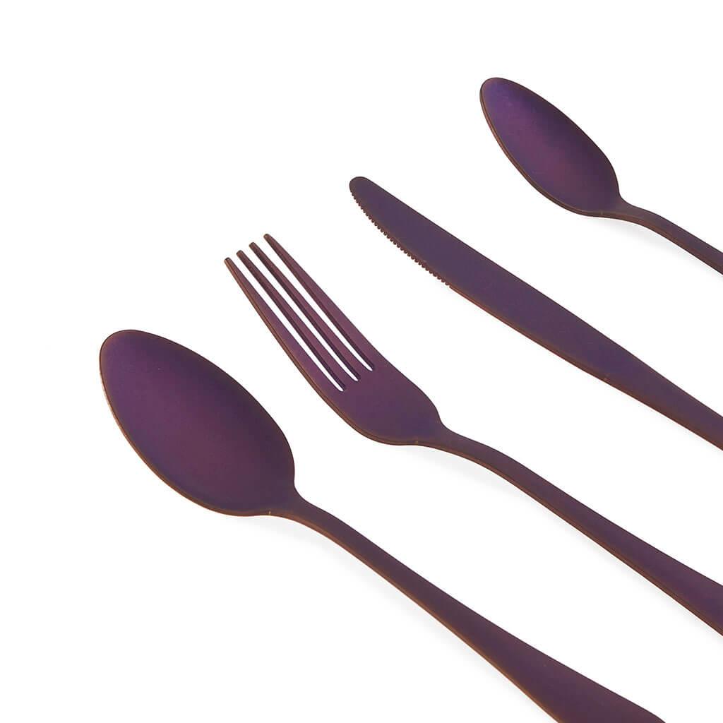 uego Cubiertos 4 en Acero Inoxidable Color morado Mate – Pack Set de Cubertería Cuchara Tenedor Cuch