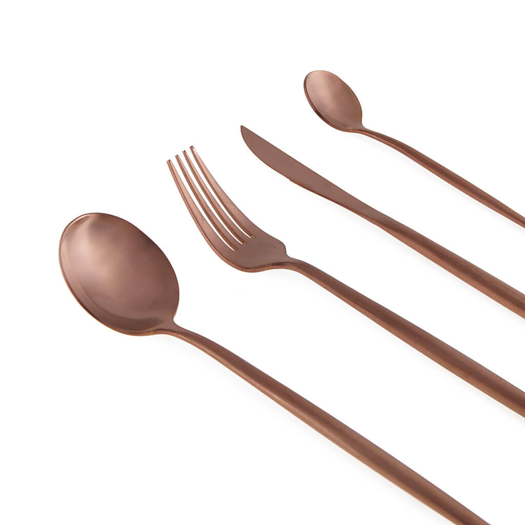 overed Game 4 Color Copper Stainless Steel - Pack Set Flatware Fork Knife Spoon - Style Straight Lin
