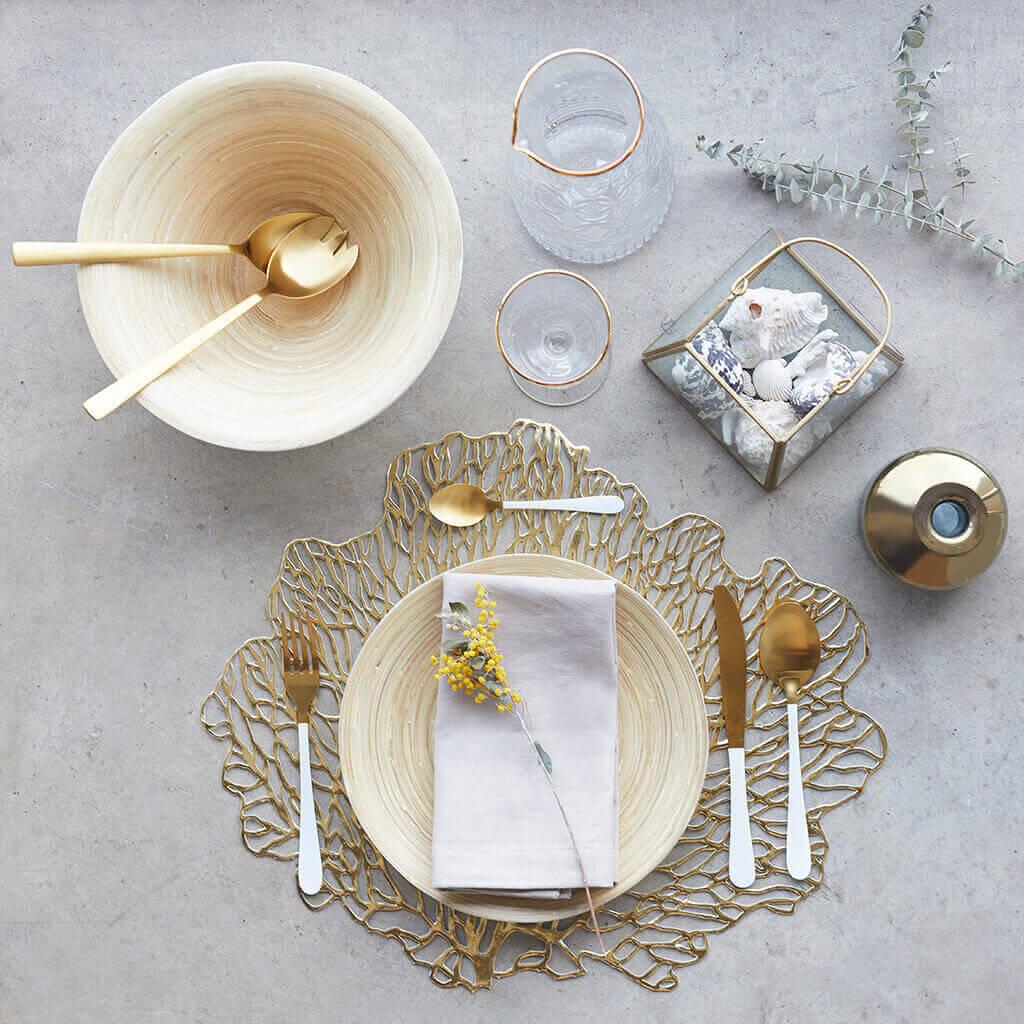 uego Cubiertos 4 en Acero Inoxidable Color Dorado y Blanco – Pack Set de Cubertería Cuchara Tenedor
