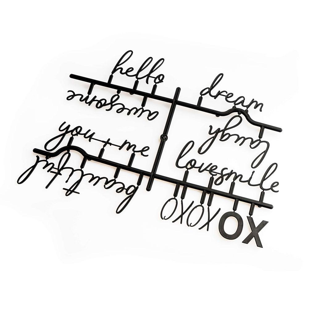 PACK Letras Tablero Fieltro Intercambiables Letters Words - Alfabeto Plastico Retro Color Negro