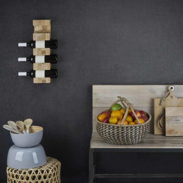 Botellero vino Wine for 4 madera de mango, color natural