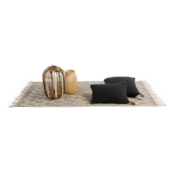 Alfombra Marrakesh 100% algodón, color natural y negro