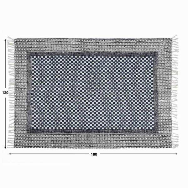 Alfombra Fez 100% algodón, color gris y azul