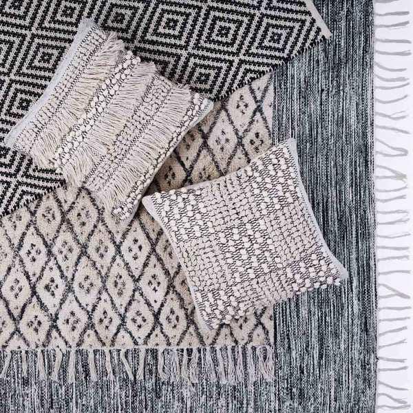 Alfombra Kenya 100% algodón, color negro y beige