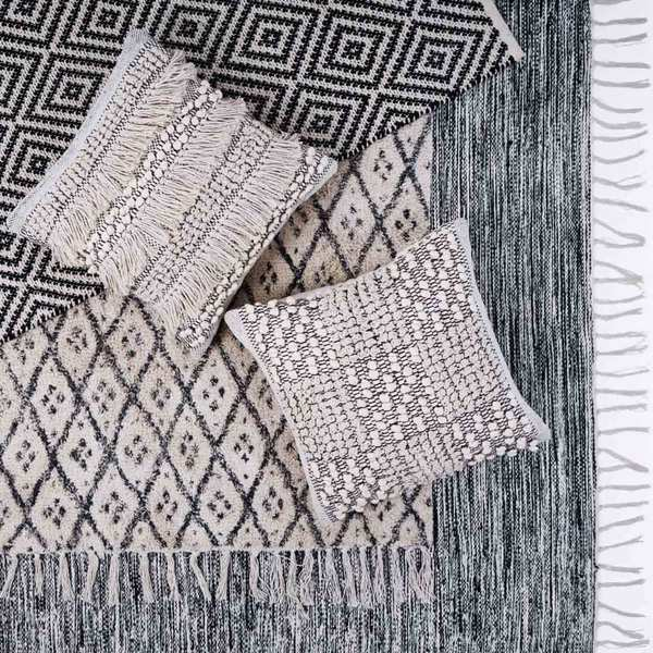 Alfombra Bombai 100% lana, color negro y beige
