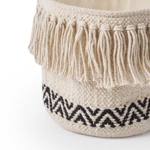 Cesto Kenya 100% algodón, color beige y negro