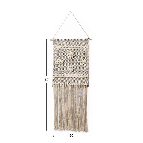 Tapiz Tánger 100% algodón, color beige y negro