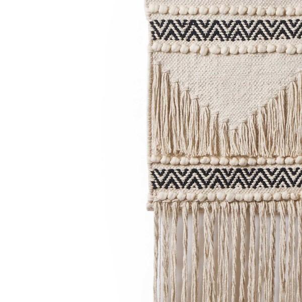 Tapiz Kenya 100% algodón, color beige y negro
