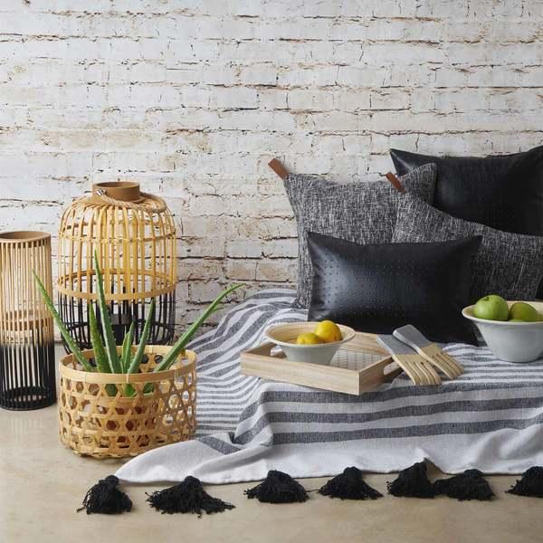 Manta Jaipur 100% algodón, color beige y negro