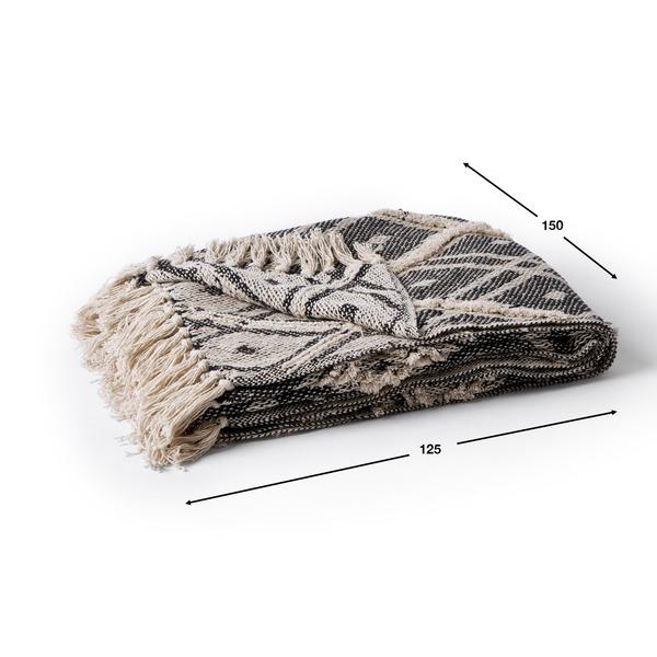 Manta Nueva Delhi 100% algodón, color negro y beige