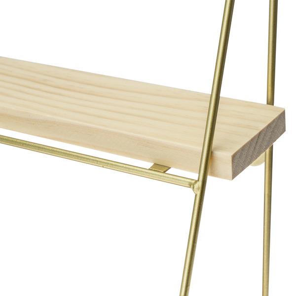 Estantería Oslo MDF chapado madera pawlonia y metal, color natural y dorado