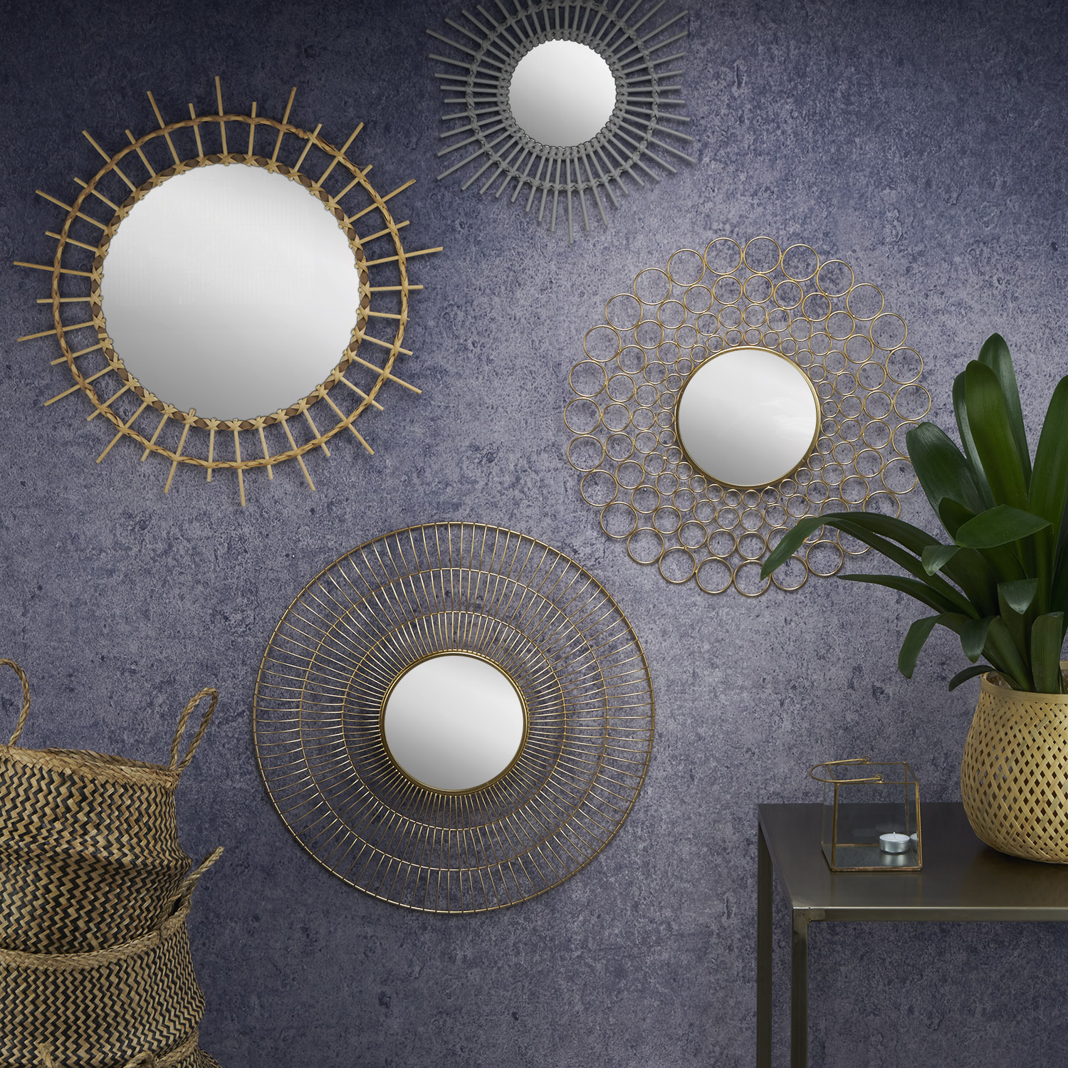 ound decorative Mirror, natural rattan, star shape, boho chic, nordic style, for hallway or bathroom
