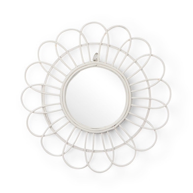 intage Round Decorative Wall Mirror - Wood Ratan White Flower BOHO CHIC - Hallway Bathroom Entrance